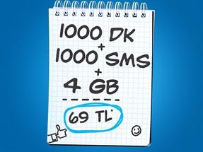 İnterneti Bol 1000dk 4GB 1000SMS Kampanyası