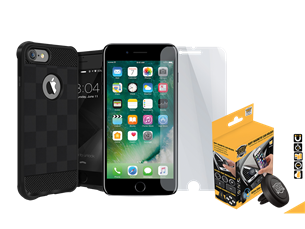 Buff iPhone 7 Black Armor Koruma Üçlü Set 2
